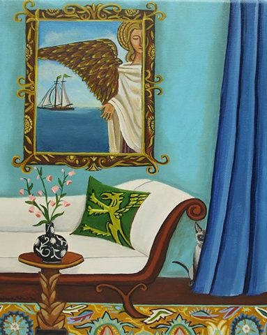 angel painting, sail boat, ocean, interior, room, sofa, catherine nolin
