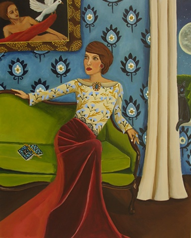 Painting of a woman on a couch journal, catherine nolin, new painting, art