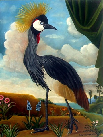 art, painting, owls, Grey crowned crane , Audubon, bird art, barn owl, visual art, paintings for sale, tuscany, catherine nolin
