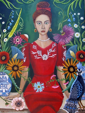 art, painting, catherine nolin, pagoda vase, interior, original painting, floral, botanical, peacock