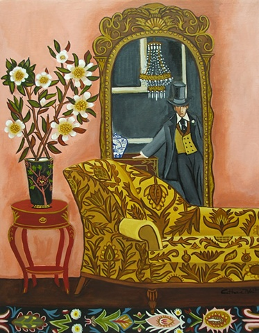 hat, top hat, catherine nolin, painting, art, pink, interior, sofa, couch
