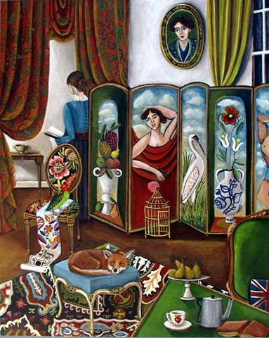 bloomsbury group, Vanessa bell, english, virginia woolf, poetry, interiors, art, paintings, fox, murals,