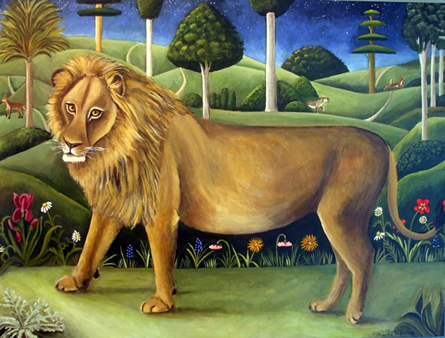 art, painting, renaissance art, leopards, big cats, cypress trees, floral, italian art, animal art,