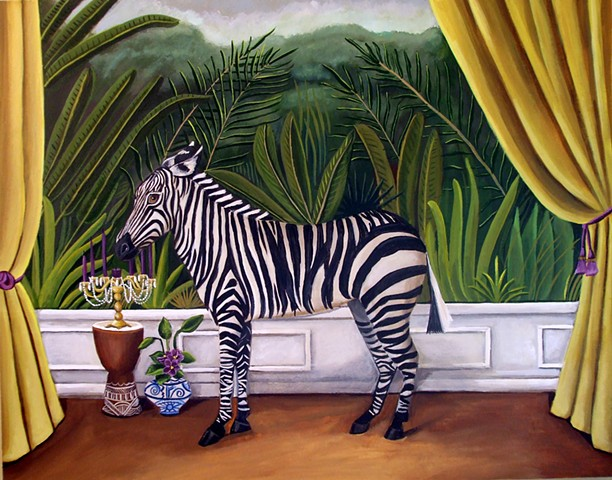 zebra, art, paintings,  catherine nolin, interiors, zebra chair, jungle, murals
