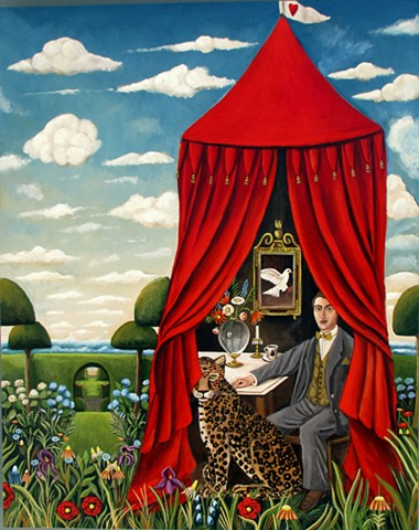 original painting, leopard, red tent, hearts, henri Rousseau, topiary