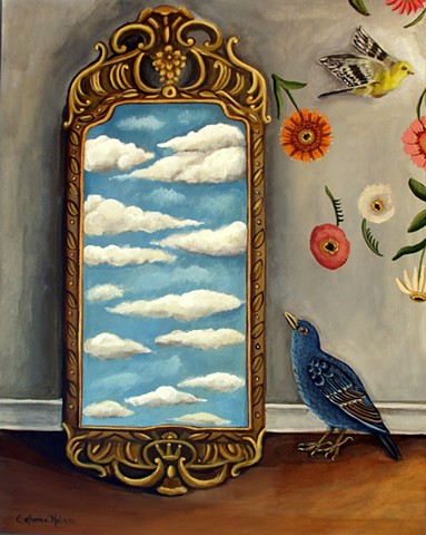 painting, art, birds, blue bird, mirror, interiors, catherine nolin