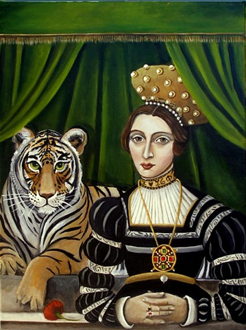 paitning, portrait, tiger king, tiger queen, tiger pose, original art, renaissance art, old masters, antique, vintage, Tudors,royal art, Catherine DeQuattro Nolin