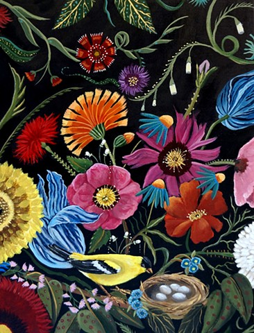art, floral, paintings, renaissance art, dequattro, birds, floral art, interiors, rooms of art,