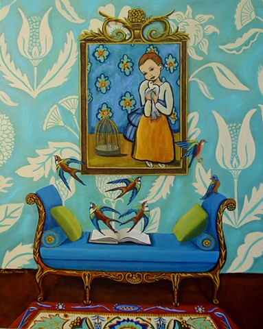 art, painting, catherine nolin, bird painting, botanical flowers,