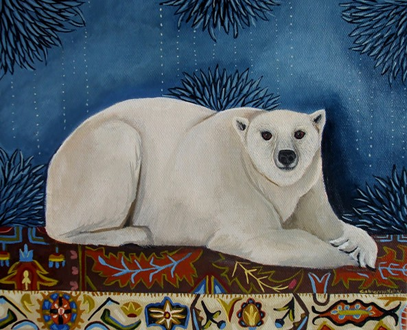 paintings of interior scenes,painting, original art by catherine Nolin, polar bear painting, google art, fine art, oriental rug