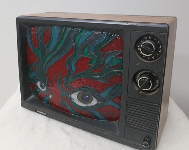 Altered Object: Found Art Broken TV and Paint