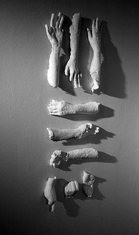Cast Paper Life Size Hands Installed at K Space Contemporary Corpus Christi, TX