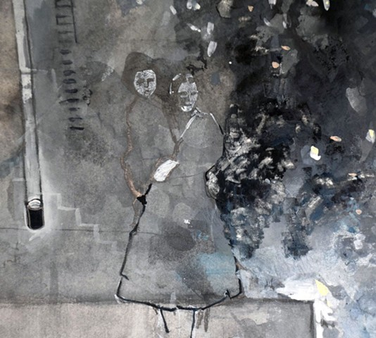 Detail of 2017 Version : Mother and Child Walking Away from Bomb Blast, World War II, Napoli, Italy
