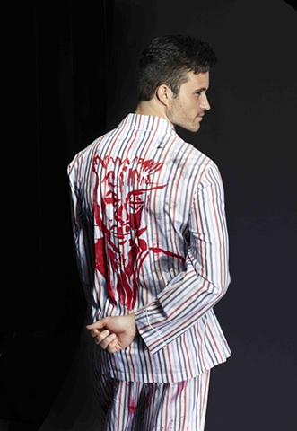 Red, White, Black, Blue Striped Graphic Pajamas - Back