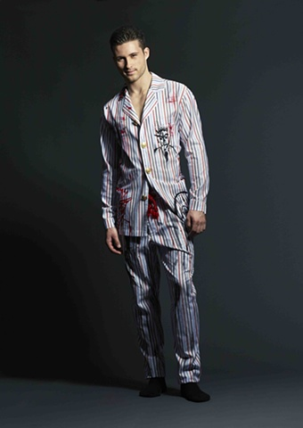 Red, White, Black, Blue Striped Graphic Pajamas