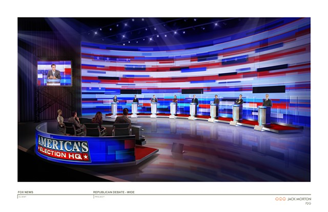 Fox News 2012 Republican Debate Set Sketch