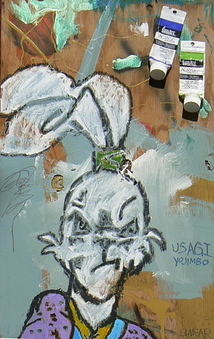 A painting of  Usagi Yojimbo, the Samurai Rabbit, with tubes of Liquitex acylic attached to the wood panel  by Cristian Smear Gheorghiu