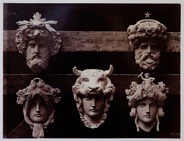 "FIVE ORNAMENTAL STONE HEADS FOR THE ""NEW"" PARIS OPERA, 1872"