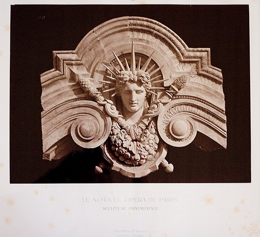 FEMALE SCULPTURAL HEAD WITH CROWN OF LIGHT FOR THE PARIS OPERA, 1872