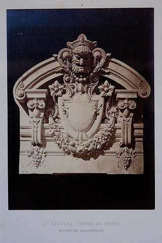 """ORNAMENTAL STONE HEAD AND OVERMANTLE FOR THE """"NEW"""" PARIS OPERA, 1872"""
