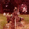 UNTITLED (FADED FLORAL CROSS IN CEMETERY)