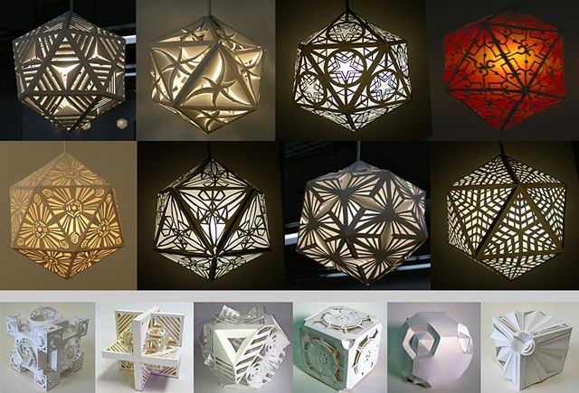 Paper Icosahedron Lamps