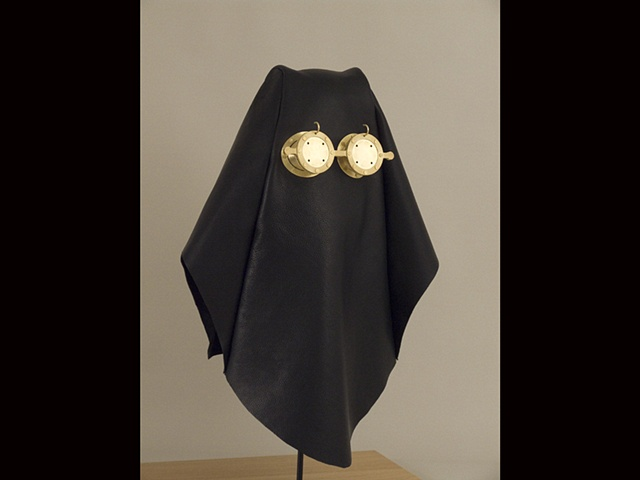 leather and brass hood sculpture