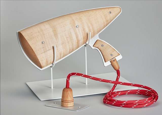 Ray gun, wood and aluminum with nylon cord