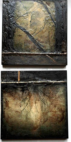 Encaustic Mixed Media Painting Diptych