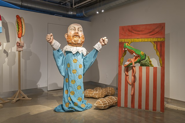 Self Portrait as hand puppet  next to Punch and Judy Crocodile (with sausages)  Photo credit:  Jaime Alvarez