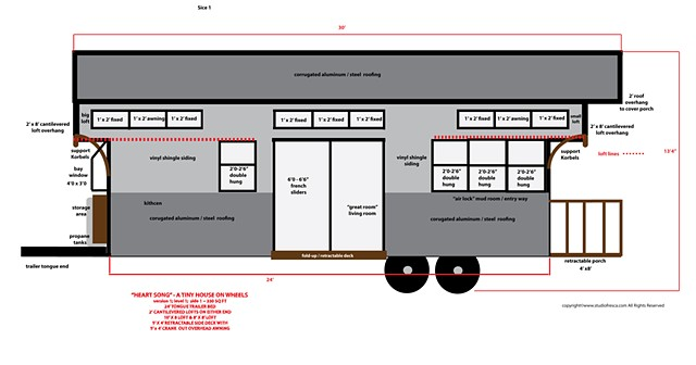 tiny house, on wheels, trailer, 5th wheel, interior design, house plans, small house, studio fresca, architecture, home design,