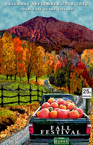 poster, graphic design, digital art, fall, autumn, burke, vermont, art,