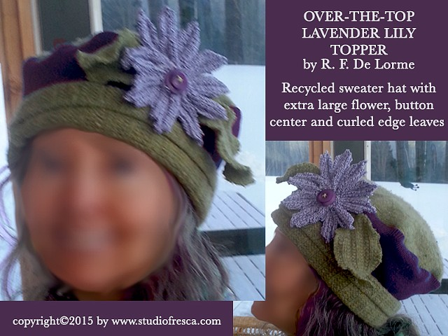 hat, recycled, sweater, wool, flower, winter, lavender, green, studio fresca, re-purposed, sewing, accessories, winter, hand-made, one-of-a-kind