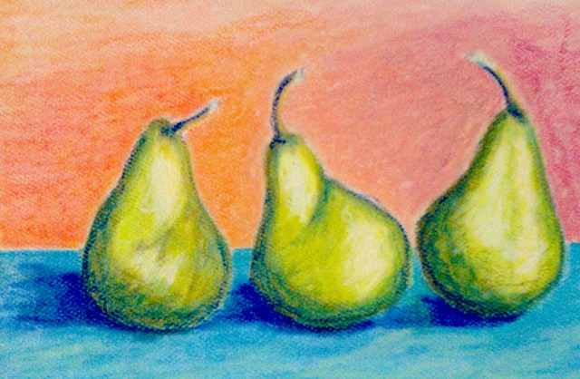 pastel, pears, art, still life, green, blue, orange, studio fresca,