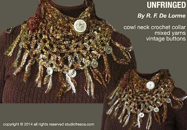 fiber art, crochet, studio fresca, vintage buttons, cowl neck, collar, turtleneck, fringe, yarn, handmade, mother of pearl, silk, cotton, wool, brown, gold, bronze, olive, silver, gray, boutique, scarf