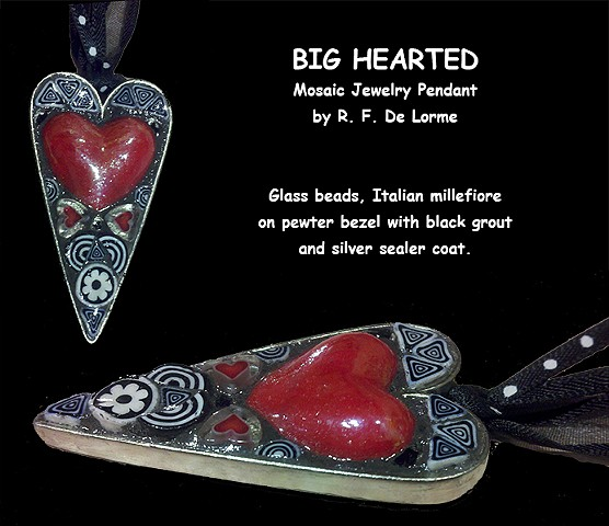 mosaic jewelry studio fresca smalti china heart red black white glass beads necklace pendant hand-made