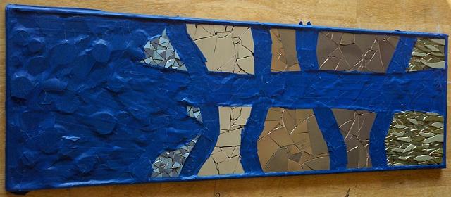 mosaic, pique assiette, tree, birch, work in progress, grout, fall, vermont, leaves, foliage, red, orange, green, black, dishware, china, art, studio fresca, large, autumn,