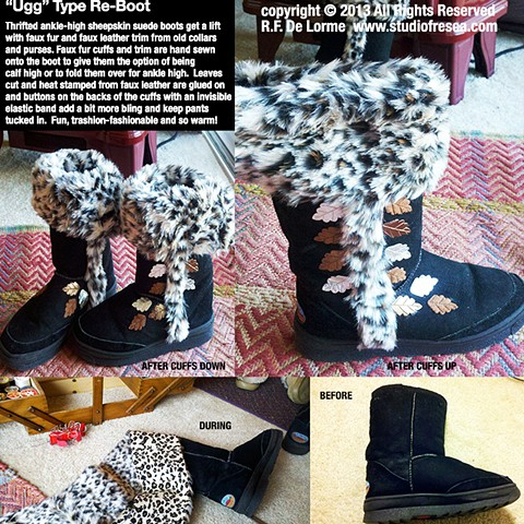boots, recycled, repurposed, DIY, restyled, trashion-fashion, suede, faux fur, studio fresca. decorated, uggs, snow boots, designer, custom, black,