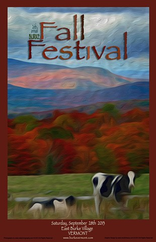 vermont, poster, fall, foliage, autumn, leaves, cows, art, studio fresca, burke, east burke, northeast kingdom, festival, orange, black, white, green, blue, skies, nek photography,