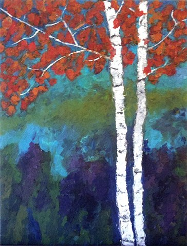 studio fresca, acrylic, painting, art, birch trees, purple,