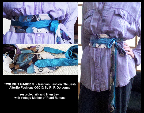 obi, sash, belt, neckties, recycled, repurposed, trashion fashion, vintage, buttons, silk, linen, teal, lavender, fawn, black, beige, studio fresca, AlterEo Fashions