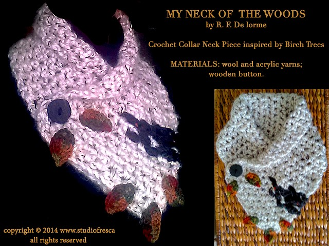 crochet, scarf, neck piece, collar, birch, tree, leaves, leaf, black, white, green, orange, red, wool, yarn, studio fresca, fiber arts,