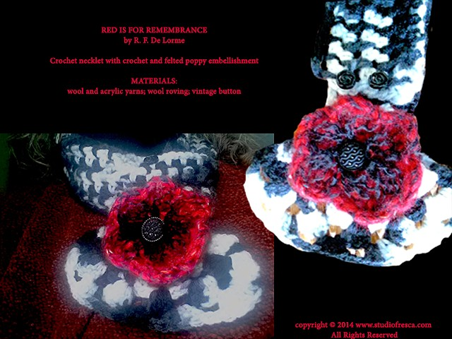 crochet, scarf, poppy, red, black, white, flower, fiber art, handmade, wool, yarn, studio fresca, necklet,