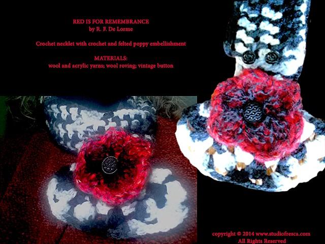 crochet, scarf, poppy, red, black, white, flower, fiber art, handmade, wool, yarn, studio fresca, necklet,