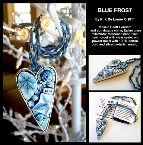 mosaic jewelry pendant heart shaped vintage china recycled italian glass millefiore blue frost winter hand made studio fresca