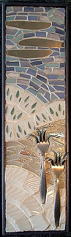 mosaic, mixed-media, china, dishes, pique assiette, silverware, stainless steel, glass, recycled, salvaged, winter, landscape, white, blue, green, lavendar, vermont, snow,