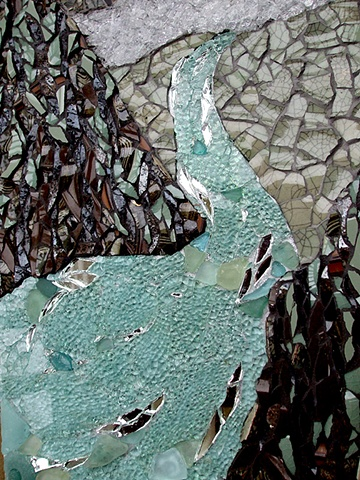 mosaic, pottery, china, temepred glass, salvaged, recycled, mirror, sea glass, pearls, kauai, hawaii, sea, cliffs, landscape, green, brown, aqua, studio fresca