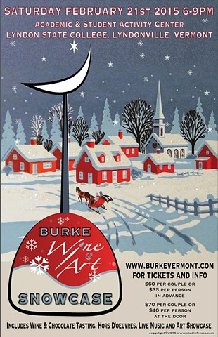poster, studiofresca, graphic design, winter, art, wine, vermont, vintage, blue, red, white black, wine tasting, village,
