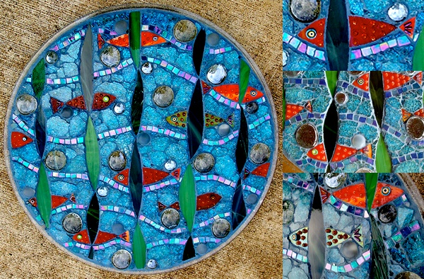 mosaic, glass, tempered glass, fish, sea, tropical, hawaii, blue, stained glass, green, yellow, orange, round, studio fresca, recycled, salvaged,