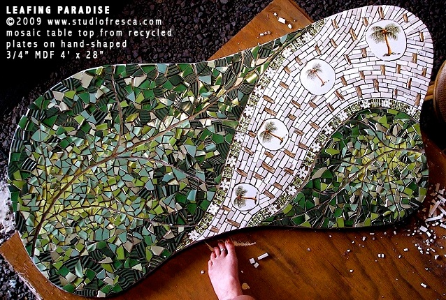 mosaic art table palm leaf tropical green white bamboo retro modern studio fresca kauai hawaii tabletop custom made decor furniture